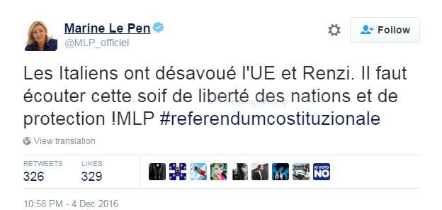 Marine Le Pen Tweet