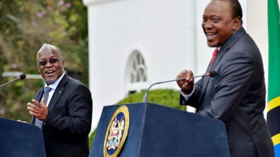 Kenya's President Uhuru Kenyatta and his counterpart John Magufuli