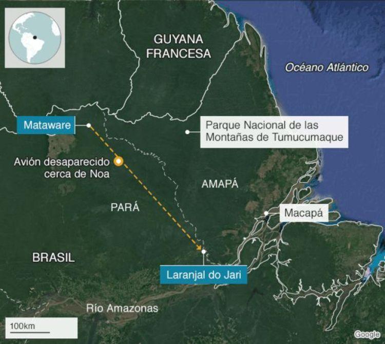 Mapa del lugar donde desapareció la avioneta