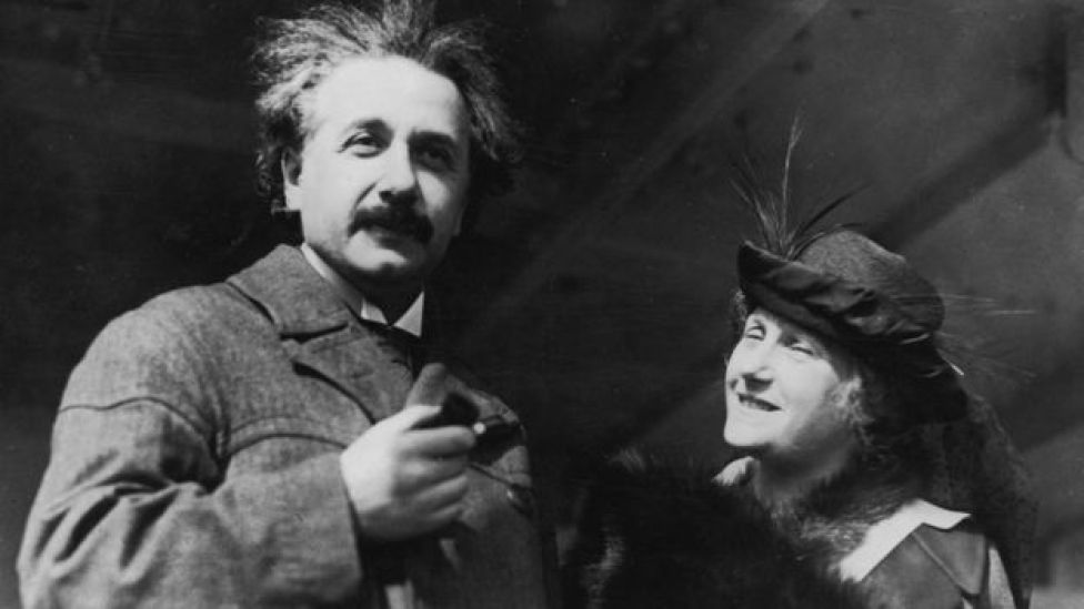 Albert Einstein on a ship with his wife Elsa, 1921