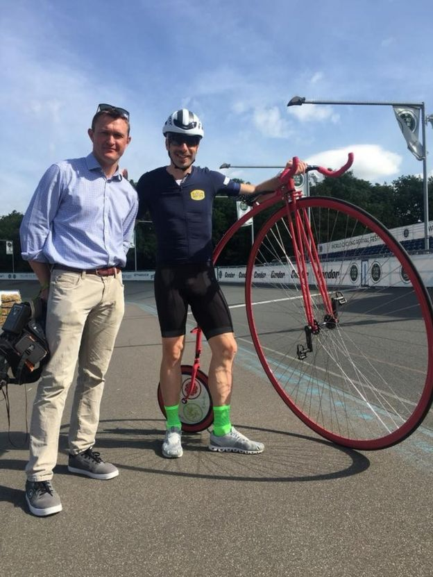 Mark Beaumont with his 56-inch penny farthing