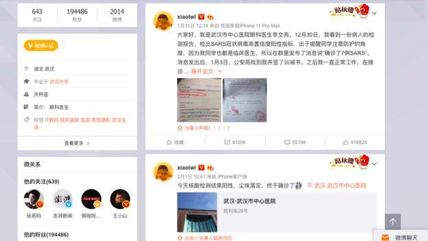 Unggahan Dr Li di Weibo