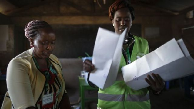 Electoral officials count votes for the presidential poll at a polling station near Isinya, Kajiado County, some 60km south of the capital Nairobi, Kenya, 08 August 2017.