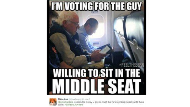 Sanders sitting on a flight in coach