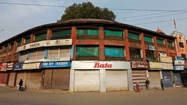 Shops and business establishments are shut in Srinagar, Kashmir on October 29, 2019