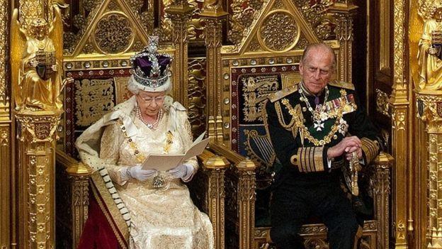 Queen Elizabeth II giving her speech a throne