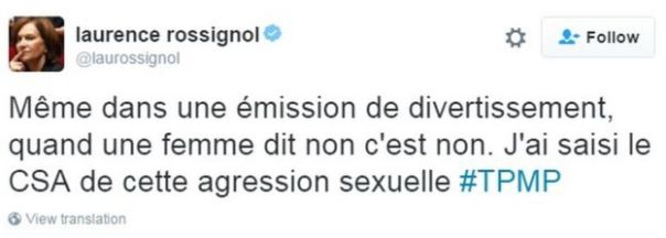 Tuit de la ministra de derechos de la mujer y de la infancia, Laurence Rossignol.