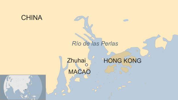 Mapa situando a Hong Kong