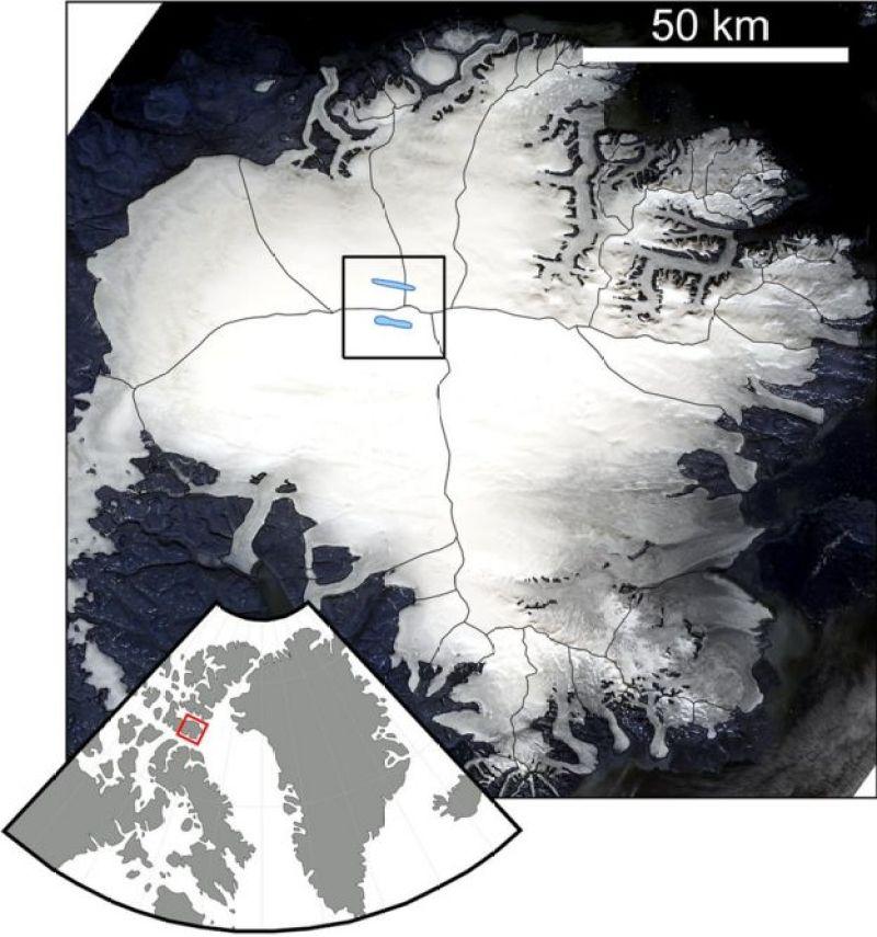 Mapa satelital de la capa de hielo de Devon