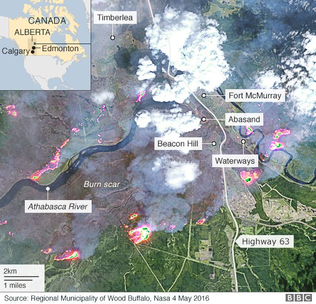 Map of path of Alberta wildfire