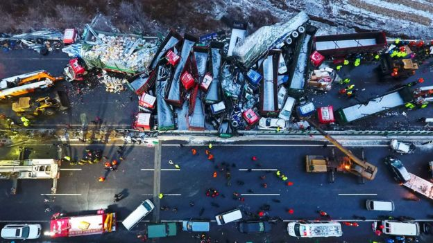 Crushed lorries in the motorway crash in northern China