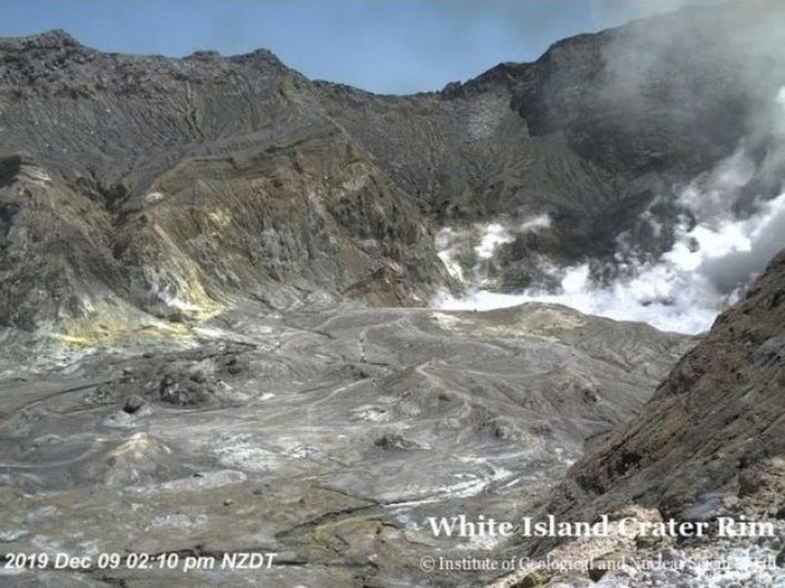 Inside the crater before the eruption