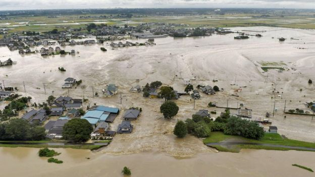 Floodwater in Joso, Japan