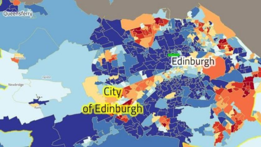 Dark blue is the least deprived 10% of Scotland, according to SIMD