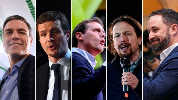 Sosyalist Parti lideri Pedro Sánchez, Halk Partisi lideri Pablo Casado, Ciudadanos lideri Albert Rivera, Podemos lideri Pablo Iglesias, Vox lideri Santiago Abascal
