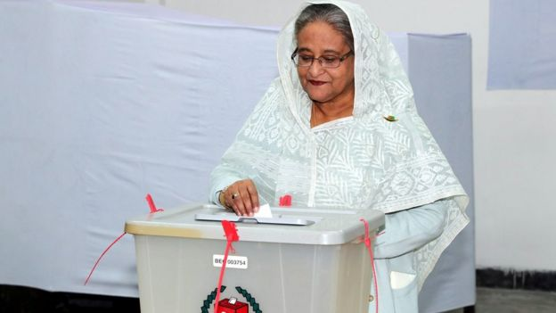 Prime Minister Sheikh Hasina casts her vote in the morning during the general election in Dhaka, Bangladesh, December 30, 2018.