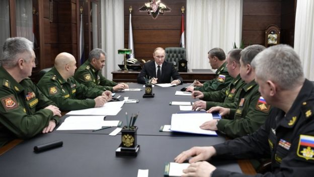 Putin meeting with military guys