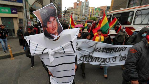 Protesta a favor de Evo Morales en Bolivia