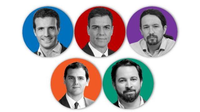 Os candidatos dos 5 principais partidos são Pablo Casado (PP), Pedro Sánchez (PSOE), Pablo Iglesias (Unidas Podemos), Albert Rivera (Ciudadanos) e Santiago Abascal (Vox).