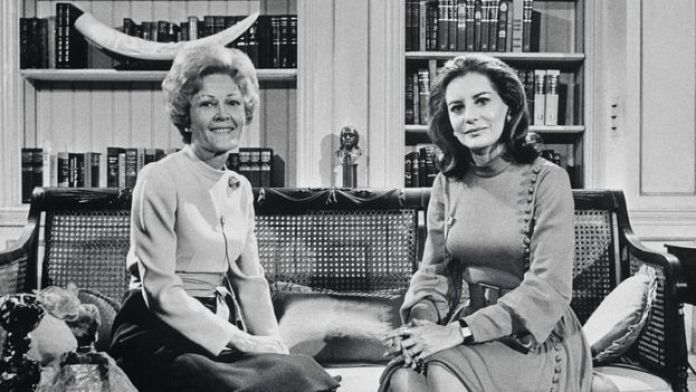 First Lady Pat Nixon is interviewed by Barbara Walters in the Library of the White House. The interview is about Mrs. Nixon's recent trip to Liberia, Ghana and the Ivory Coast.