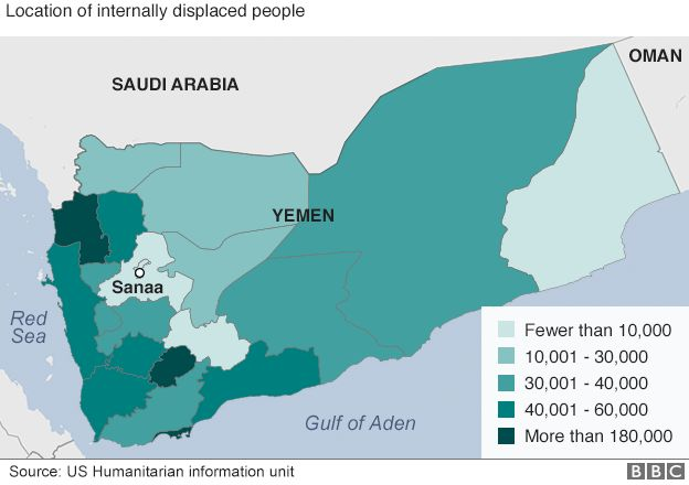Map showing number of internally displaced people in Yemen (20 August 2015)