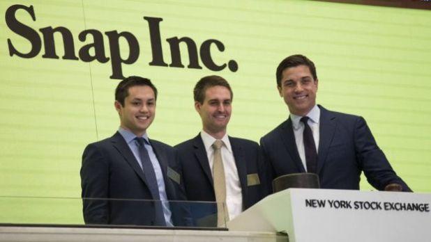Evan Spiegel en el debut de Snapchat en Wall Street
