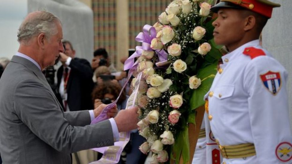 Prince Charles lays a wreath at Revolution Square in Havana on March 24, 2019.