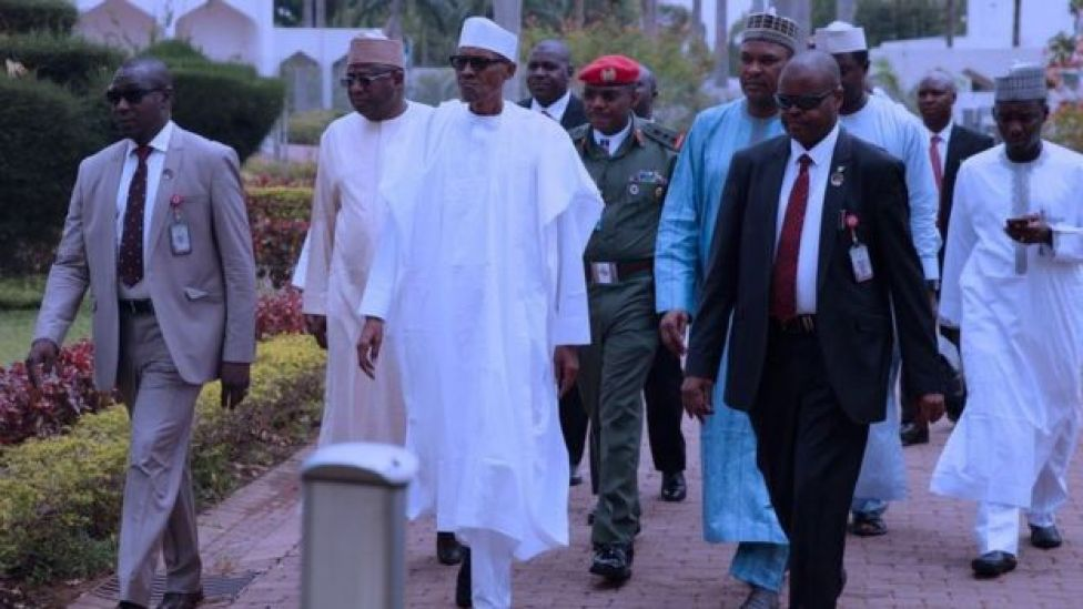 President Buhari walking in grounds of presidential palace on 5th May, 2017