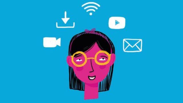 Ilustración de una niña con aplicaciones.