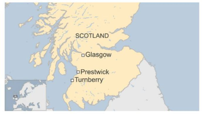 Map showing Turnberry and Prestwick in Scotland