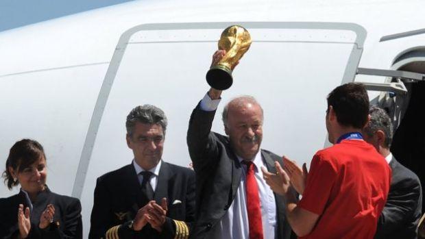 Del Bosque, con la Copa del Mundo.