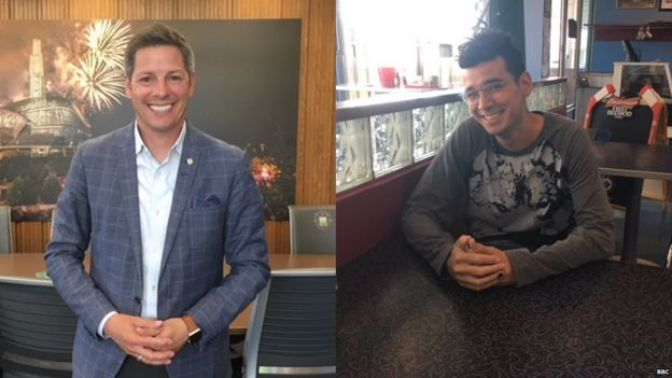 Mayor Brian Bowman (left) has worked on repairing Winnipeg's relations with its indigenous community. Michael Champagne (right) is a community organiser who works with indigenous youth.