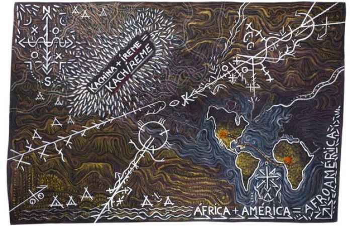 A painting depicting a map, symbols and text