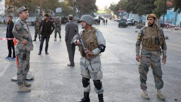 Afghan police at a checkpoint in Kabul. Photo: 28 September 2019