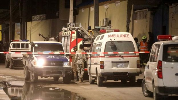 Emergency vehicles pictured after a blast at the Elite Hotel in Lido beach in Mogadishu, Somalia August 16, 2020