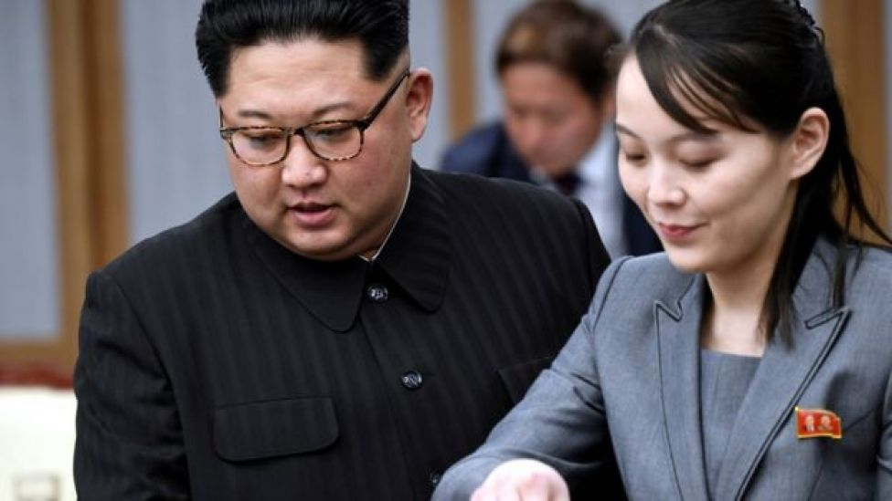 North Korean leader Kim Jong Un and his sister Kim Yo Jong attend a meeting with South Korean President Moon Jae-in at the Peace House at the truce village of Panmunjom inside the demilitarized zone separating the two Koreas, South Korea, April 27, 2018