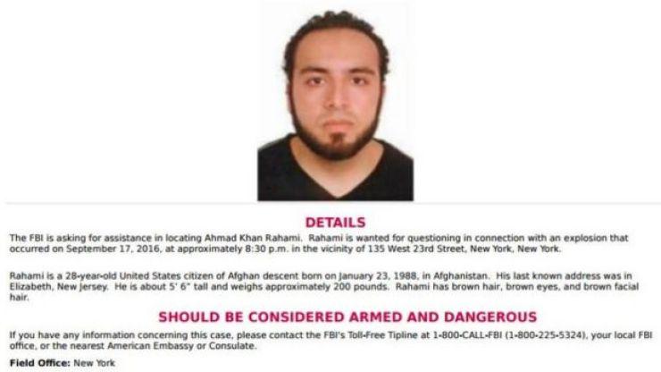 Información del FBI sobre Ahmad Khan Rahami
