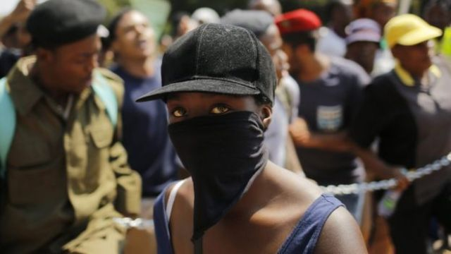 A demonstrator at Wits University in Johannesburg, South Africa - Monday 4 April 2016