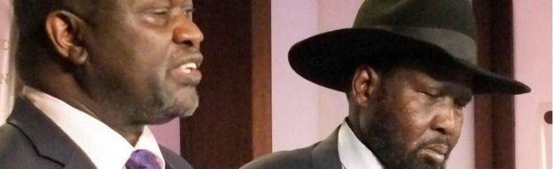 South Sudan Riek Machar, left. Salva Kiir, South Sudan President, right, on 8 July