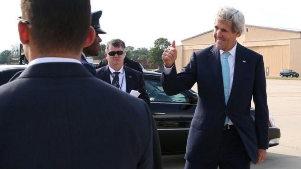 US Secretary of State John Kerry departs from Washington on his way to Geneva, Switzerland, September 8, 2016.