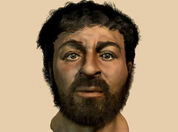 Ilustração feita pela BBC representando o rosto real de Jesus