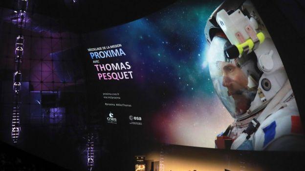 El astronauta francés Thomas Pesquet en noviembre de 2016 en una conexión con París.