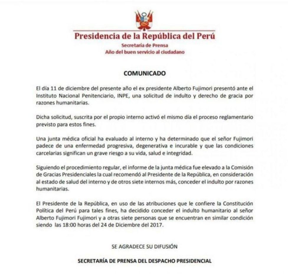 Comunicado del indulto a Fujimori