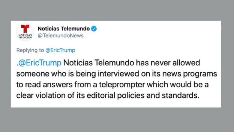TV network tweet dismissing Eric Trump's tweet
