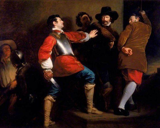 El descubrimiento de la Conspiración de la pólvora imaginado por el artista Henry Perronet Briggs en 1823.