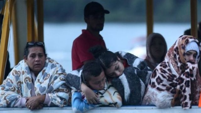 Survivors from the sunken boat