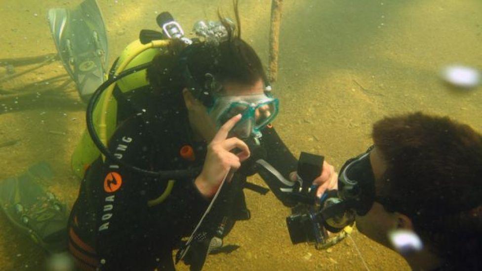 Emilia Ribeiro proposing to Rodrigo Bornholdt underwater