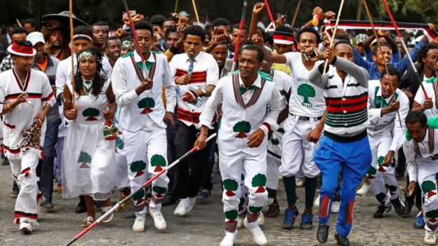 Demonstrators chant slogans during Irreecha, the thanksgiving festival of the Oromo people, in Bishoftu town, Oromia region, Ethiopia, October 2, 2016
