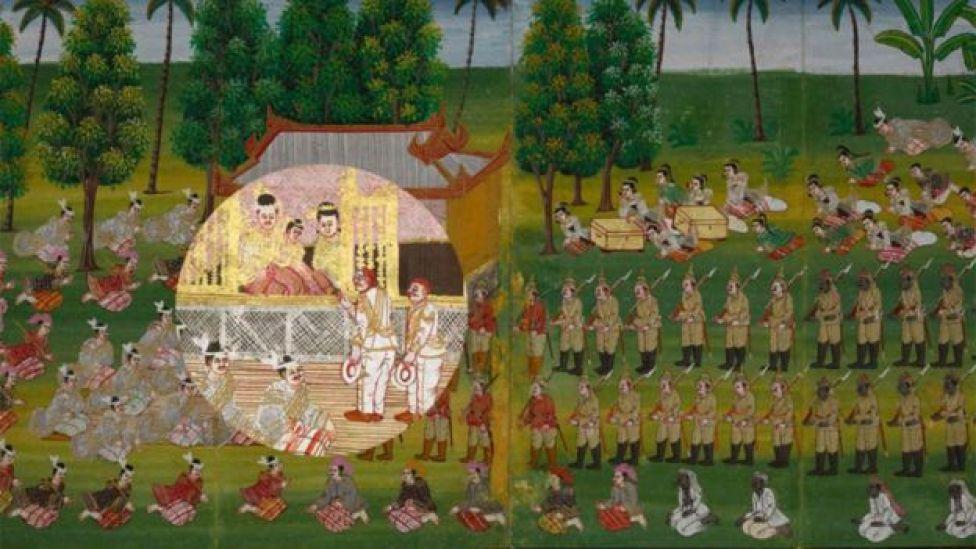 Pintura que muestra la caída de Thibaw (Foto: The British Library)