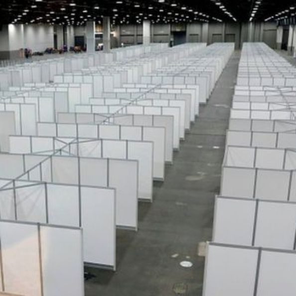 A convention hall at TCF Center is being converted by the US Army Corps of Engineers into a field hospital in Detroit, Michigan